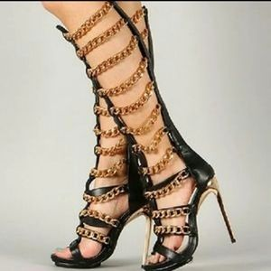 GOLD CHAIN GLADIATOR HEELS
